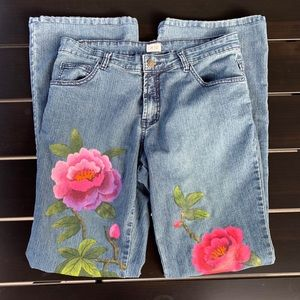 CACHE Denim Hand Painted Rose Floral Stretch Jeans
